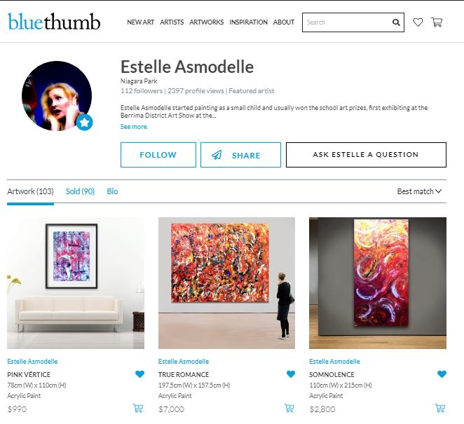 Estelle's Bluethumb profile